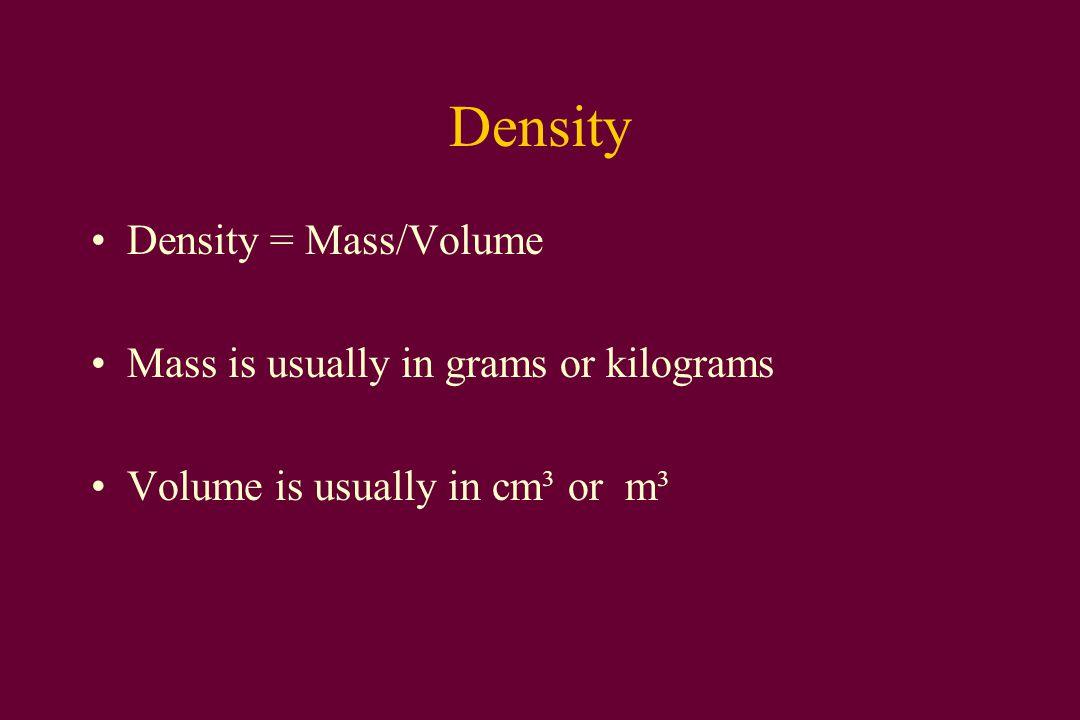 Densities Density of water = 1 g/cm³ = 1,000 kg/m³ Density of iron = ~8 g/cm³ = ~8,000 kg/m³