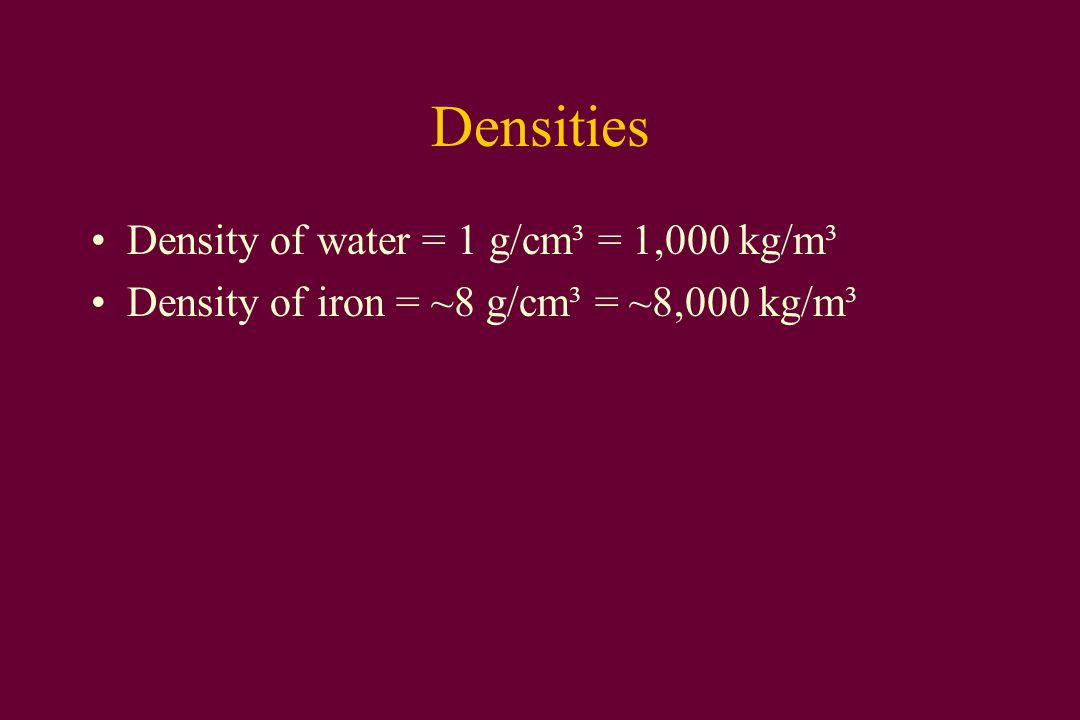 Weight density Weight density = weight/volume