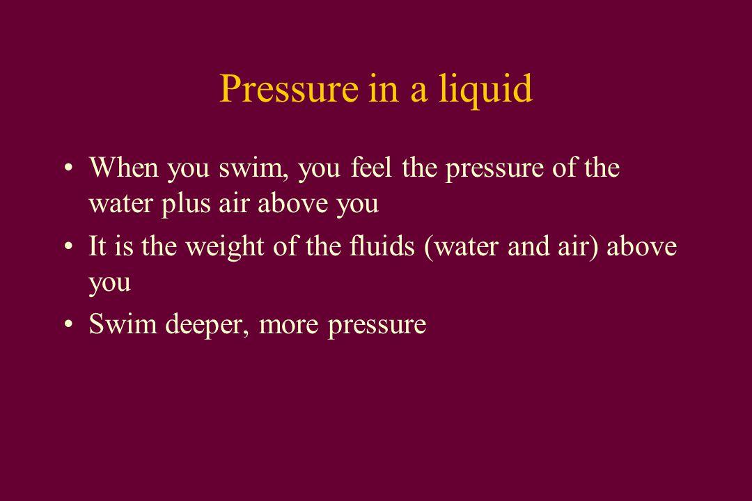 Pressure in a Liquid Liquid pressure = weight density x depth