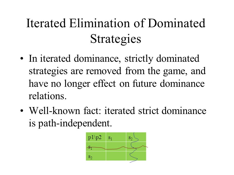 Iterated Elimination of Dominated Strategies In iterated dominance, strictly dominated strategies are removed from the game, and have no longer effect on future dominance relations.