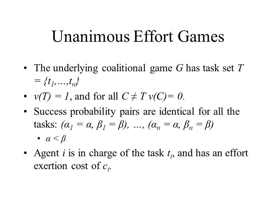 Unanimous Effort Games The underlying coalitional game G has task set T = {t 1,…,t n } v(T) = 1, and for all C ≠ T v(C)= 0.