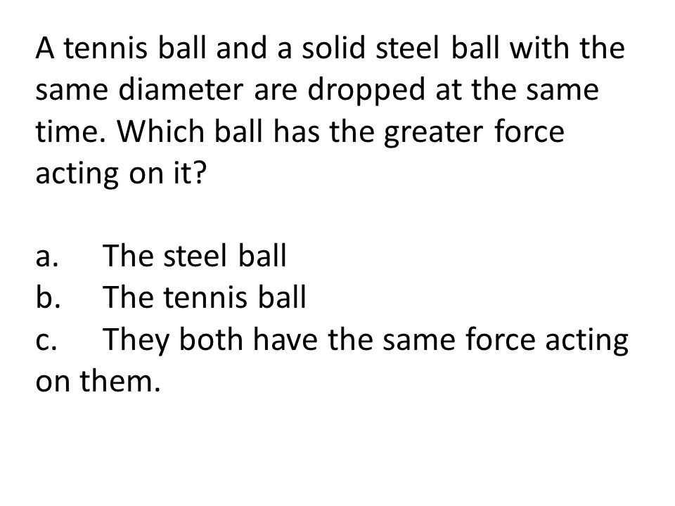 A tennis ball and a solid steel ball with the same diameter are dropped at the same time.