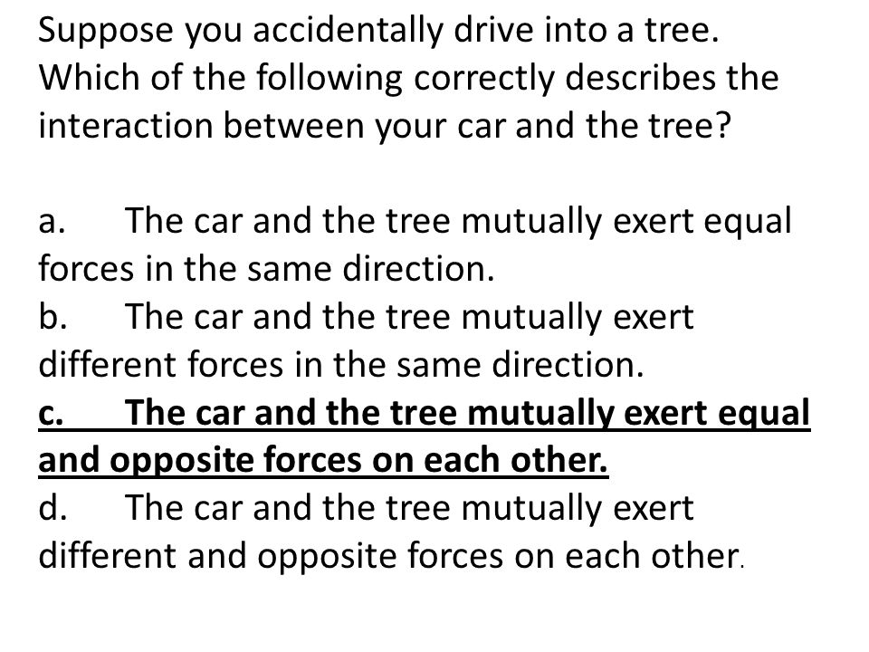 Suppose you accidentally drive into a tree. Which of the following correctly describes the interaction between your car and the tree? a.The car and th