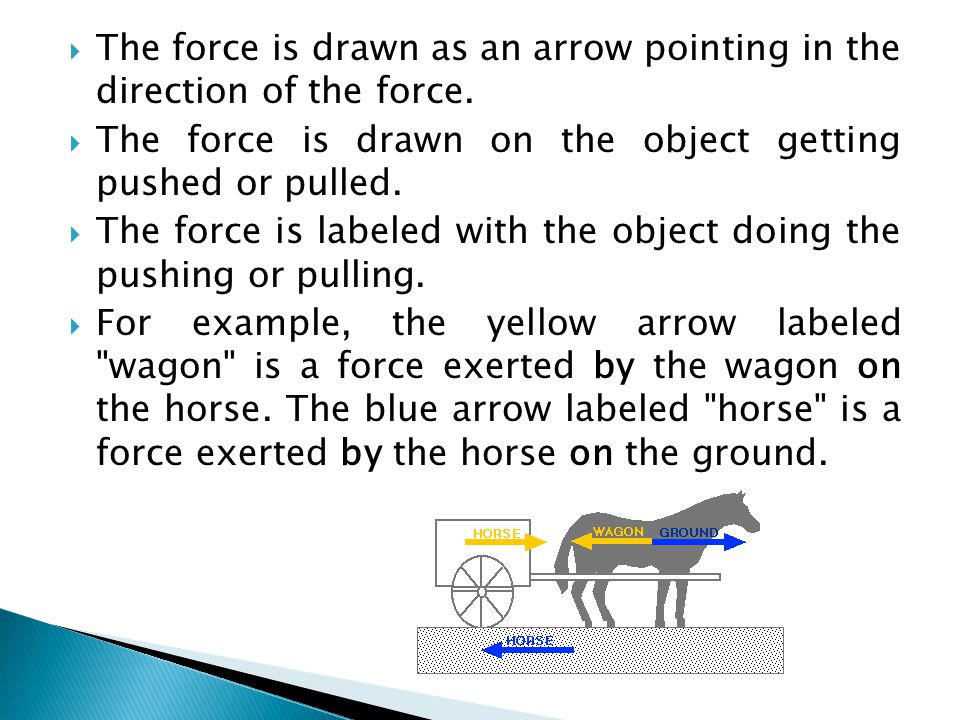  The force is drawn as an arrow pointing in the direction of the force.  The force is drawn on the object getting pushed or pulled.  The force is l