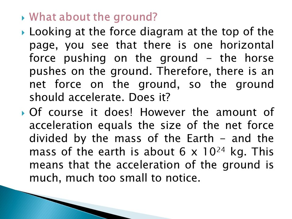  What about the ground?  Looking at the force diagram at the top of the page, you see that there is one horizontal force pushing on the ground - the