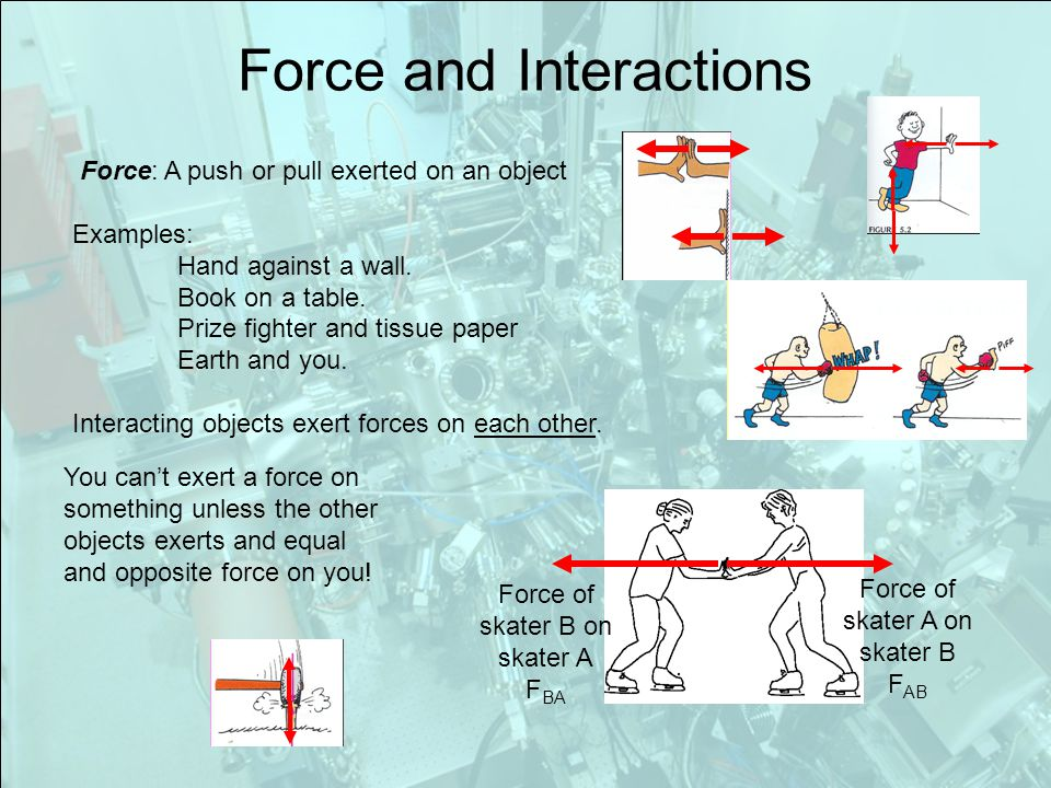 Force and Interactions Force: A push or pull exerted on an object Examples: Hand against a wall.