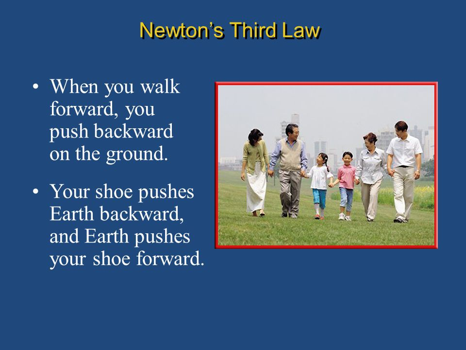 When you walk forward, you push backward on the ground. Newton's Third Law Your shoe pushes Earth backward, and Earth pushes your shoe forward.