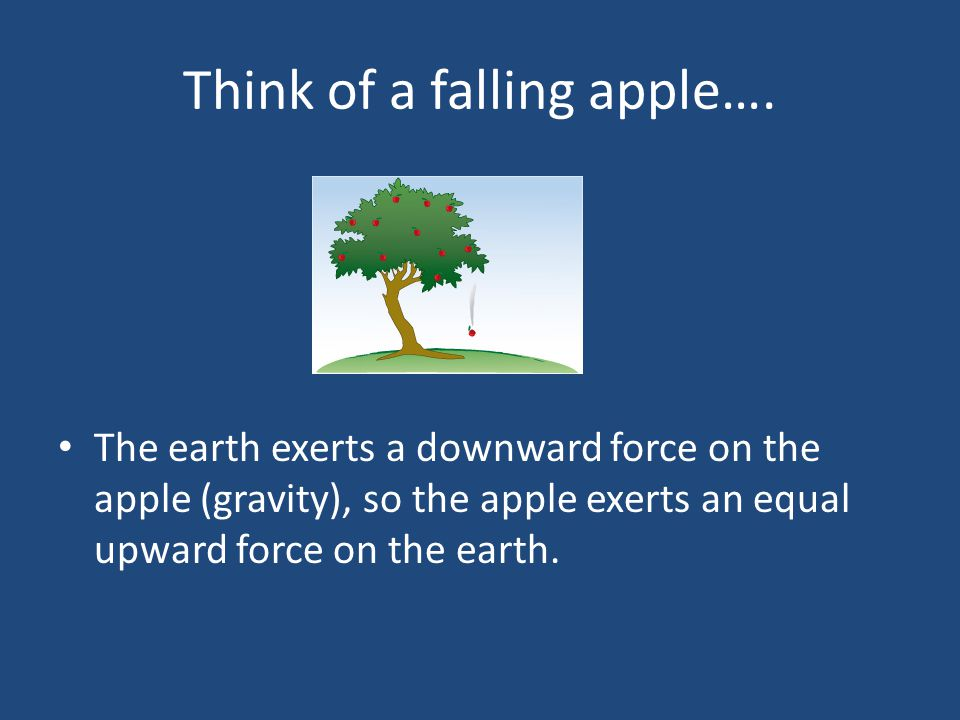 Think of a falling apple…. The earth exerts a downward force on the apple (gravity), so the apple exerts an equal upward force on the earth.