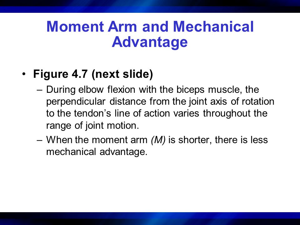 Moment Arm and Mechanical Advantage Figure 4.7 (next slide) –During elbow flexion with the biceps muscle, the perpendicular distance from the joint ax