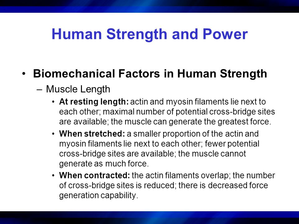 Human Strength and Power Biomechanical Factors in Human Strength –Muscle Length At resting length: actin and myosin filaments lie next to each other;