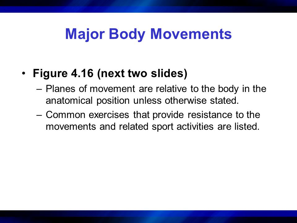 Major Body Movements Figure 4.16 (next two slides) –Planes of movement are relative to the body in the anatomical position unless otherwise stated. –C