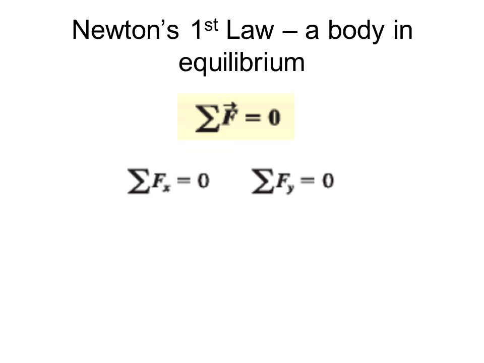 Newton's 1 st Law – a body in equilibrium