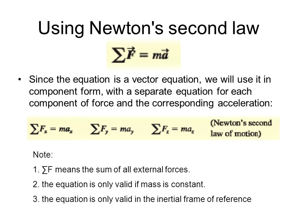 Using Newton's second law Since the equation is a vector equation, we will use it in component form, with a separate equation for each component of fo