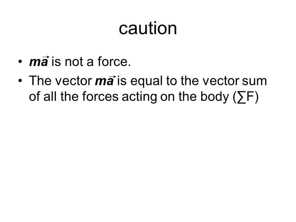 caution ma is not a force. The vector ma is equal to the vector sum of all the forces acting on the body (∑F)