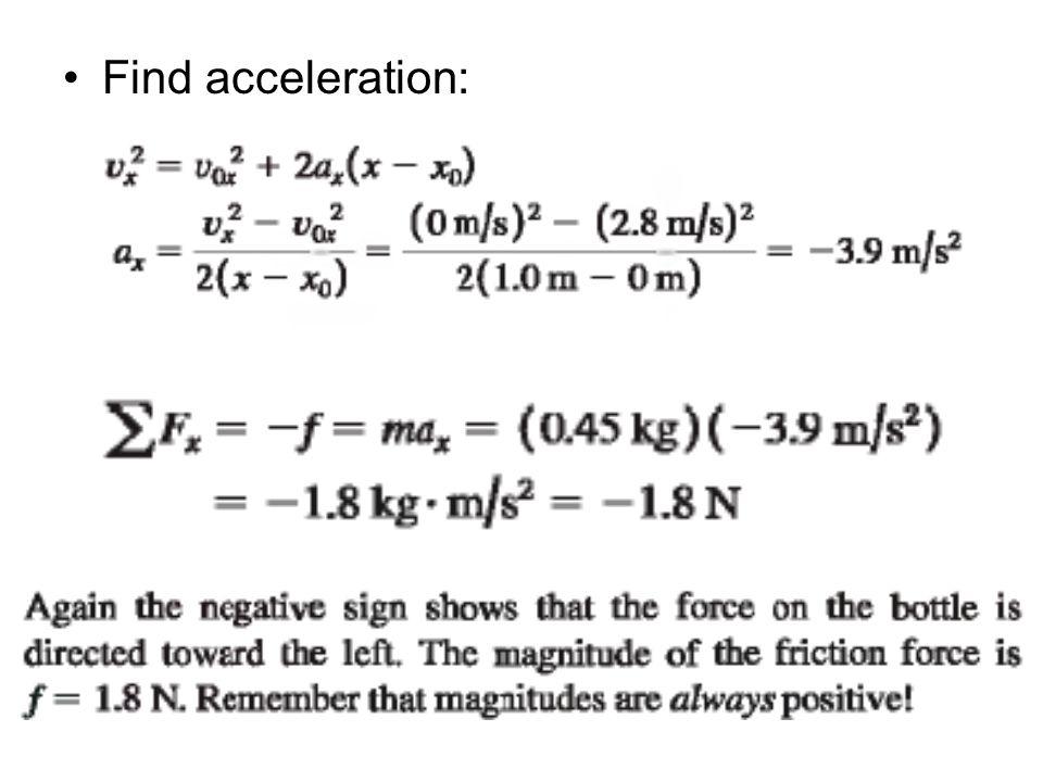 Find acceleration:
