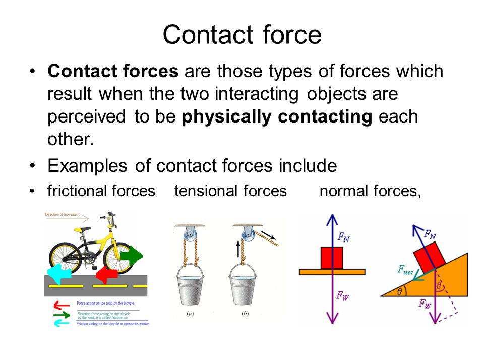 Contact force Contact forces are those types of forces which result when the two interacting objects are perceived to be physically contacting each ot