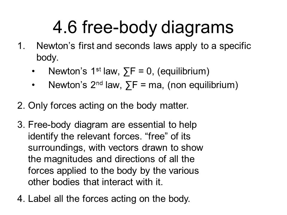 4.6 free-body diagrams 1.Newton's first and seconds laws apply to a specific body. Newton's 1 st law, ∑F = 0, (equilibrium) Newton's 2 nd law, ∑F = ma