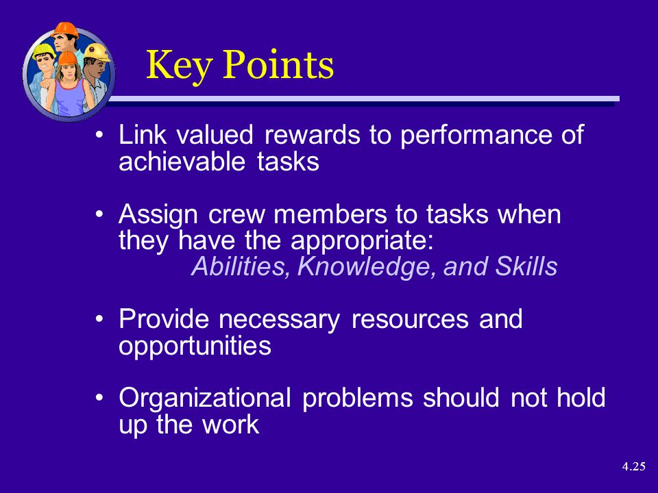 4.25 Key Points Link valued rewards to performance of achievable tasks Assign crew members to tasks when they have the appropriate: Abilities, Knowledge, and Skills Provide necessary resources and opportunities Organizational problems should not hold up the work