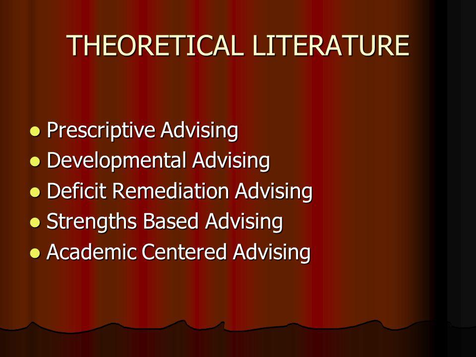 THEORETICAL LITERATURE Prescriptive Advising Prescriptive Advising Developmental Advising Developmental Advising Deficit Remediation Advising Deficit Remediation Advising Strengths Based Advising Strengths Based Advising Academic Centered Advising Academic Centered Advising