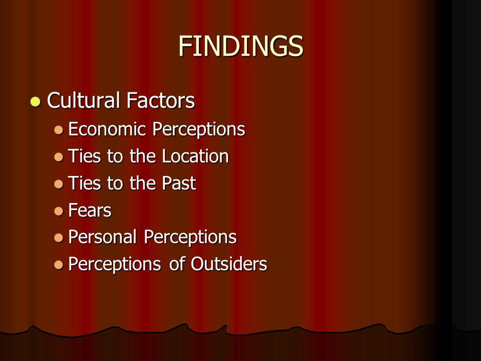 FINDINGS Cultural Factors Cultural Factors Economic Perceptions Economic Perceptions Ties to the Location Ties to the Location Ties to the Past Ties to the Past Fears Fears Personal Perceptions Personal Perceptions Perceptions of Outsiders Perceptions of Outsiders