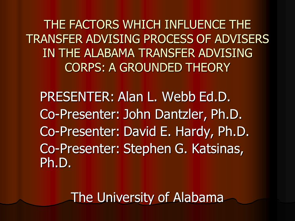 THE FACTORS WHICH INFLUENCE THE TRANSFER ADVISING PROCESS OF ADVISERS IN THE ALABAMA TRANSFER ADVISING CORPS: A GROUNDED THEORY PRESENTER: Alan L.