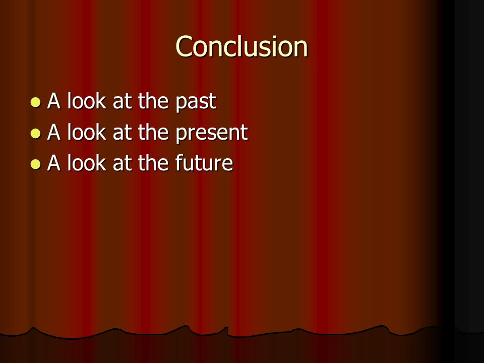 Conclusion A look at the past A look at the past A look at the present A look at the present A look at the future A look at the future