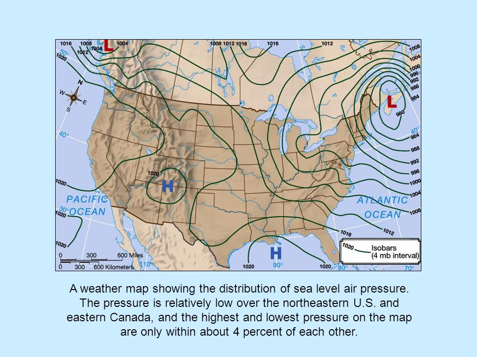 A weather map showing the distribution of sea level air pressure.