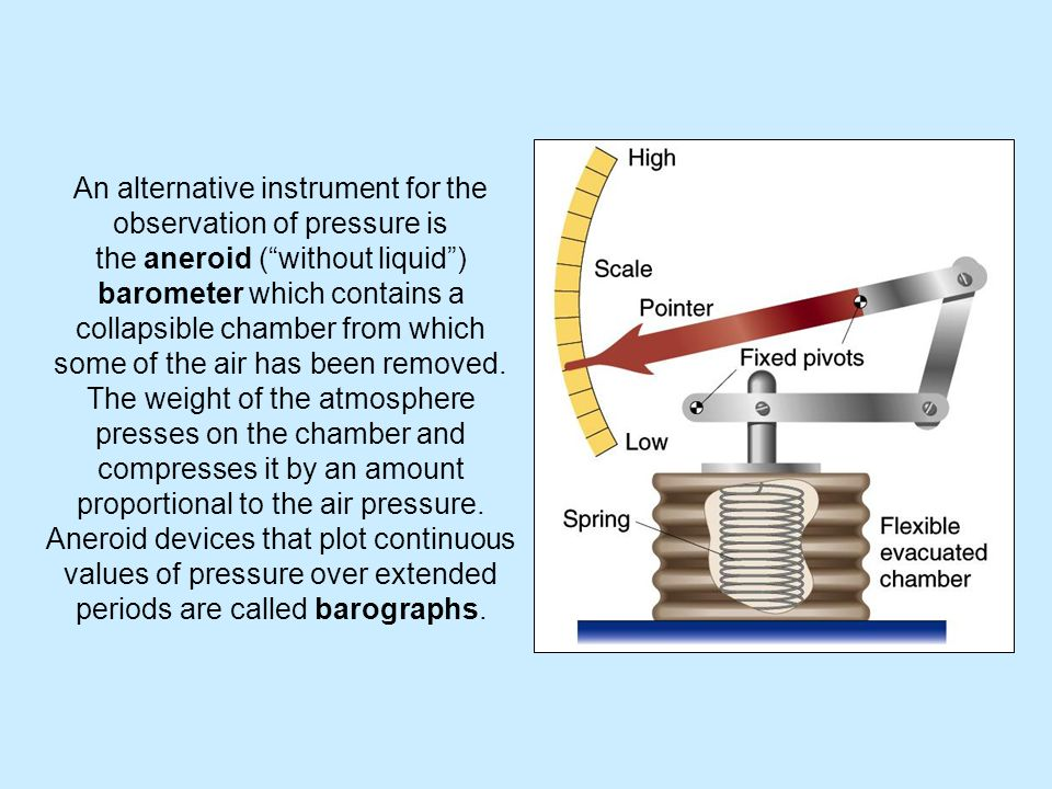 An alternative instrument for the observation of pressure is the aneroid ( without liquid ) barometer which contains a collapsible chamber from which some of the air has been removed.