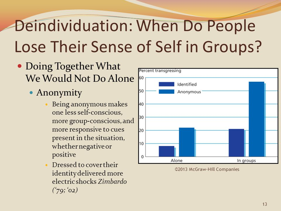 Deindividuation: When Do People Lose Their Sense of Self in Groups? Doing Together What We Would Not Do Alone Anonymity Being anonymous makes one less