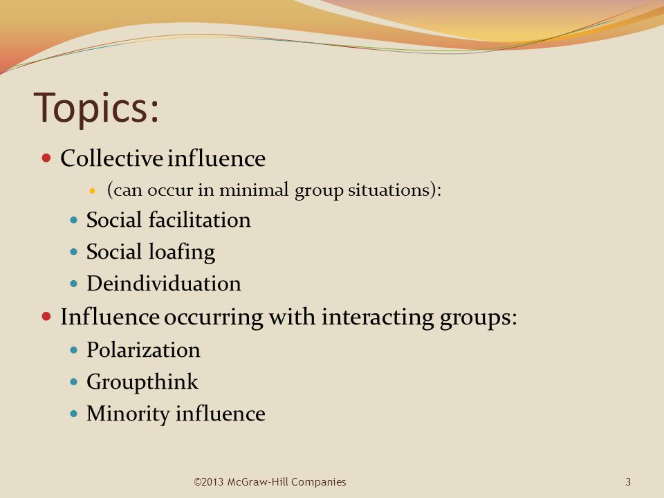 Topics: Collective influence (can occur in minimal group situations): Social facilitation Social loafing Deindividuation Influence occurring with inte