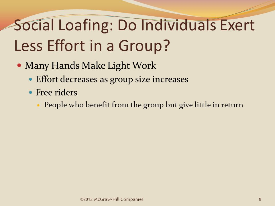 Social Loafing: Do Individuals Exert Less Effort in a Group? Many Hands Make Light Work Effort decreases as group size increases Free riders People wh