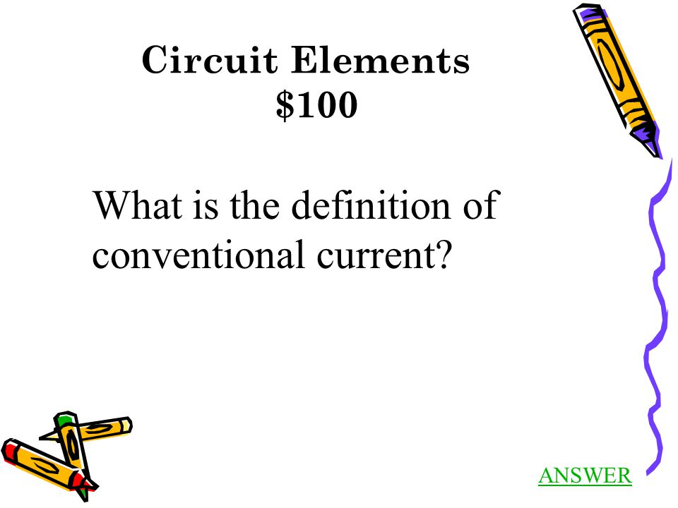 Circuit Elements $100 ANSWER What is the definition of conventional current?