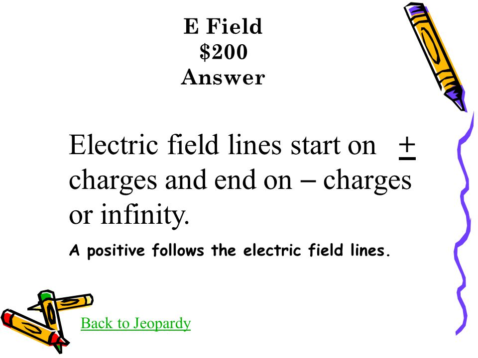 E Field $200 Answer Back to Jeopardy Electric field lines start on + charges and end on  charges or infinity. A positive follows the electric field l