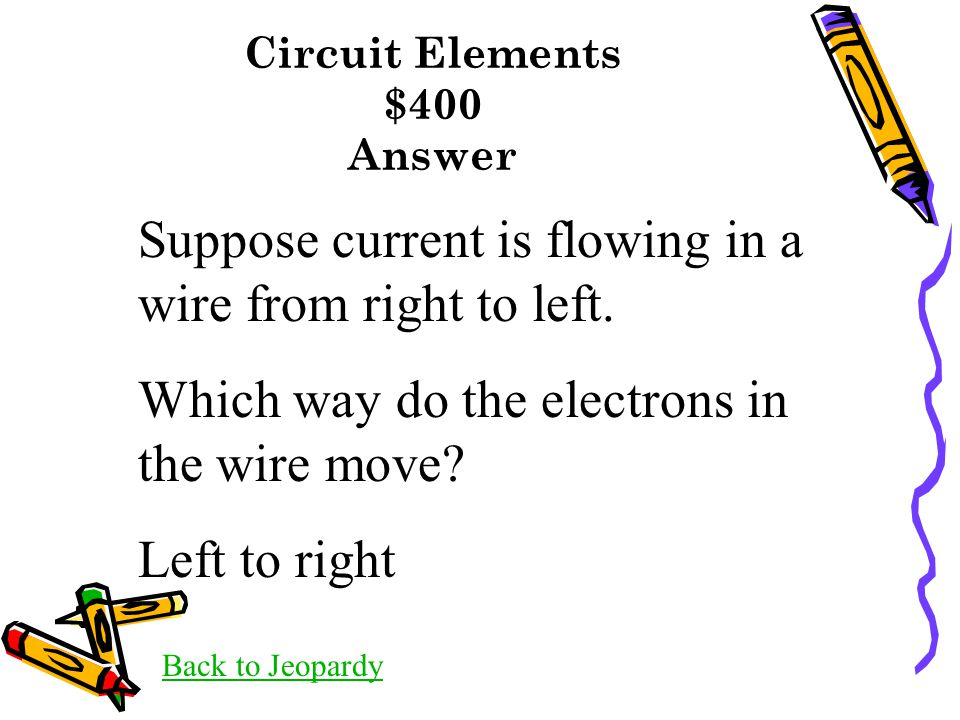 Circuit Elements $400 Answer Back to Jeopardy Suppose current is flowing in a wire from right to left. Which way do the electrons in the wire move? Le