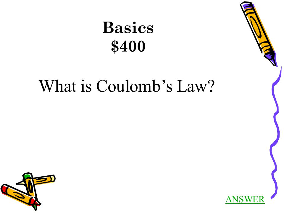 Basics $100 Answer Back to Jeopardy What is the basic unit of charge.