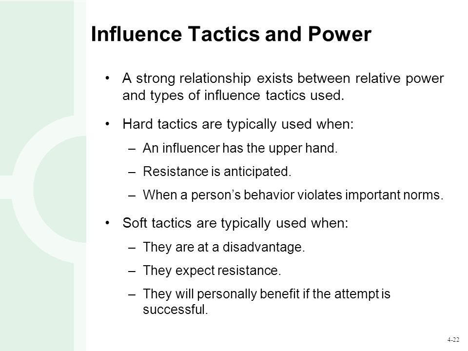 4-22 Influence Tactics and Power A strong relationship exists between relative power and types of influence tactics used.