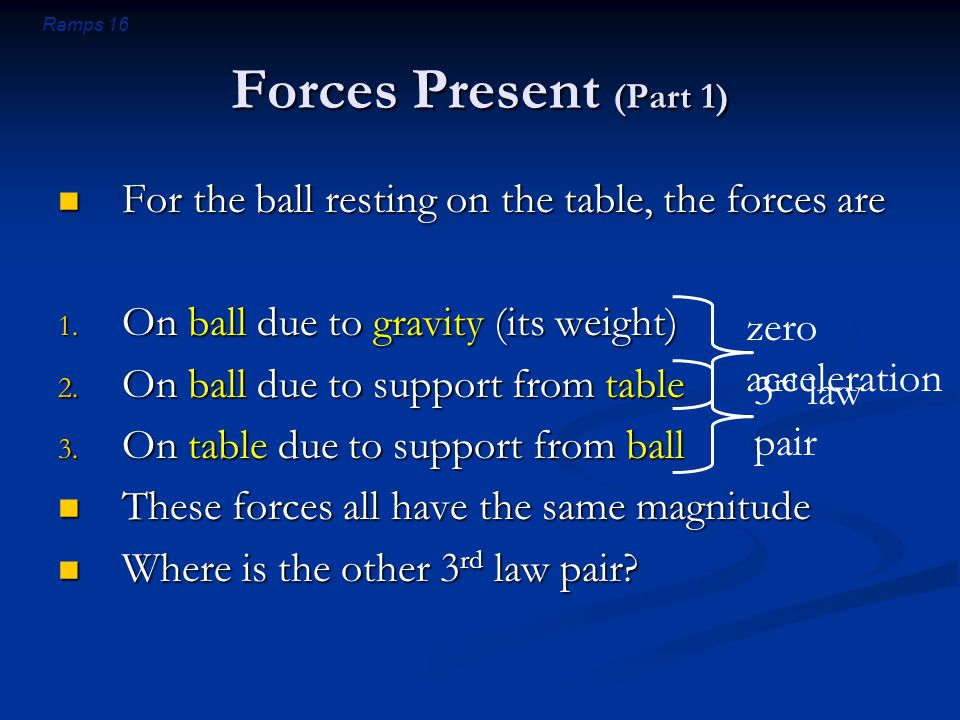 Ramps 16 Forces Present (Part 1) For the ball resting on the table, the forces are For the ball resting on the table, the forces are 1.
