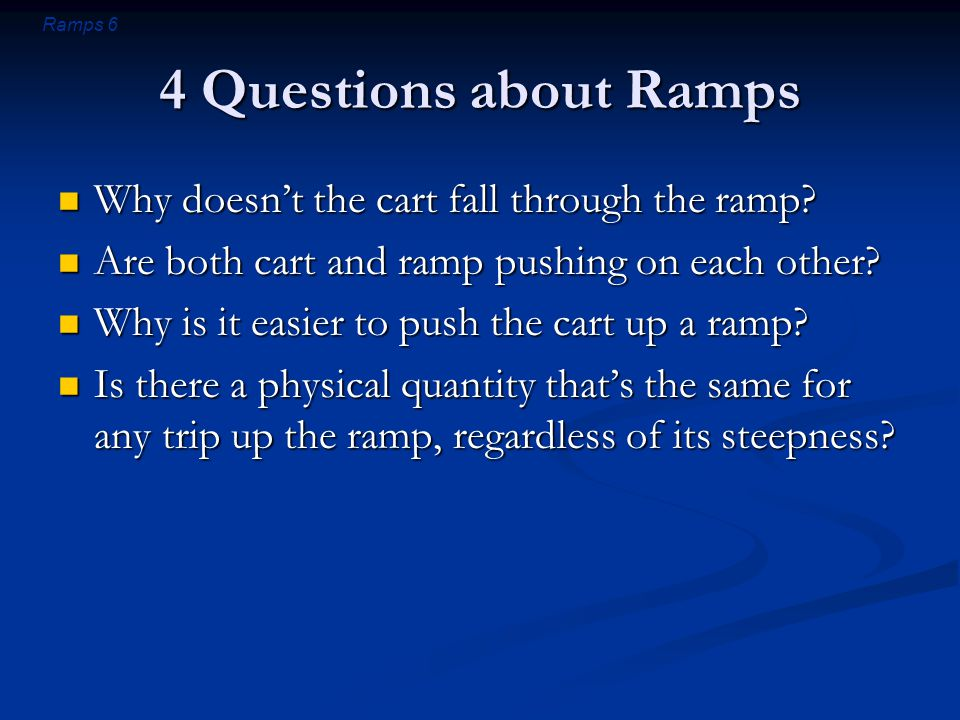 Ramps 7 Question 1 Why doesn't the cart fall through the ramp.