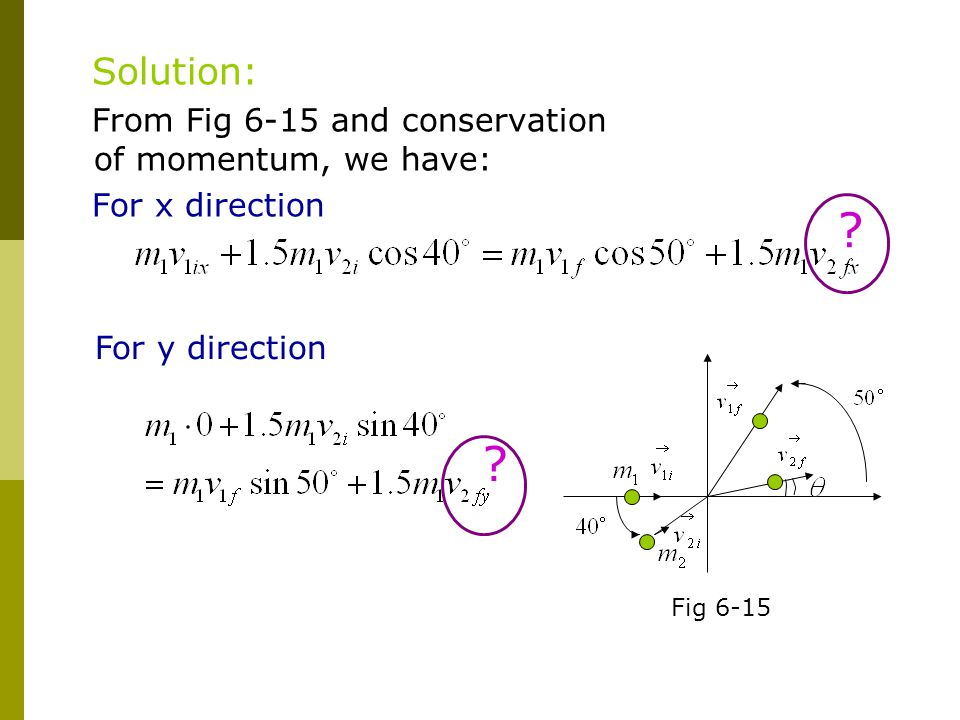 Solution: From Fig 6-15 and conservation of momentum, we have: For x direction Fig 6-15 For y direction ? ?