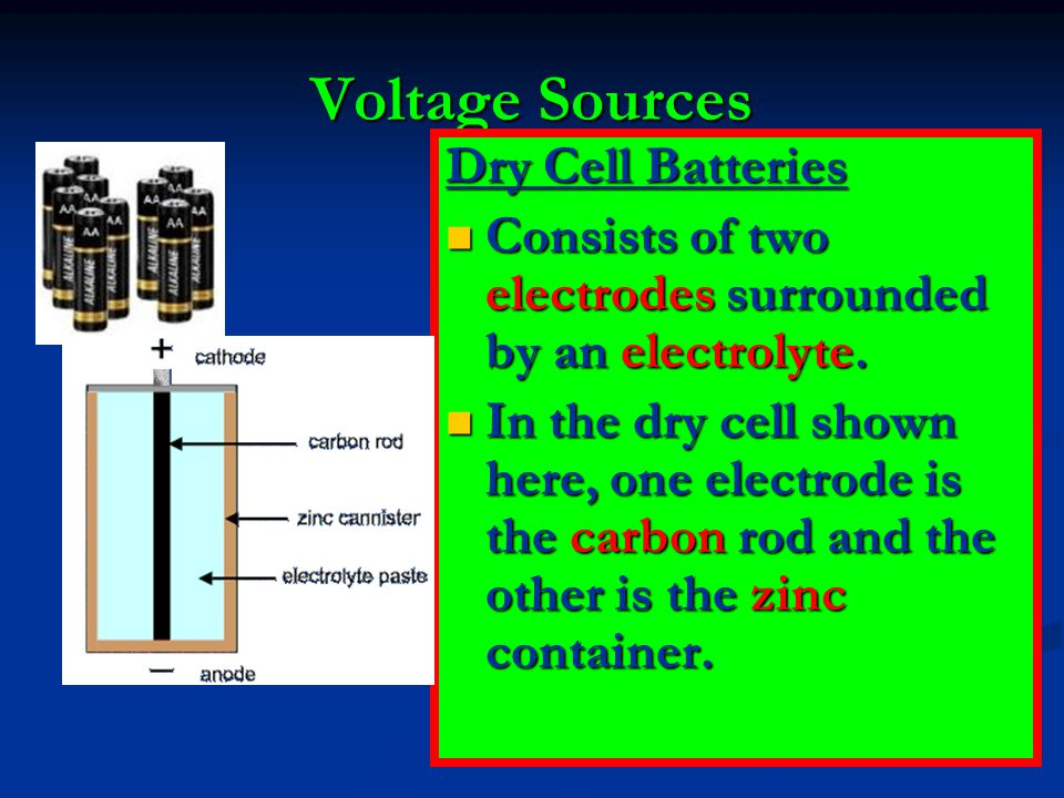 Voltage Sources Dry Cell Batteries Consists of two electrodes surrounded by an electrolyte. Consists of two electrodes surrounded by an electrolyte. I
