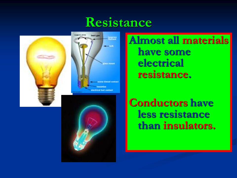 Resistance Almost all materials have some electrical resistance. Conductors have less resistance than insulators.