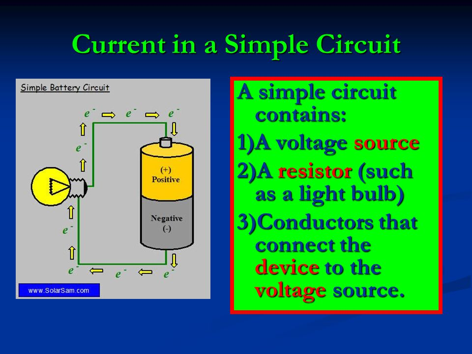 Current in a Simple Circuit A simple circuit contains: 1)A voltage source 2)A resistor (such as a light bulb) 3)Conductors that connect the device to