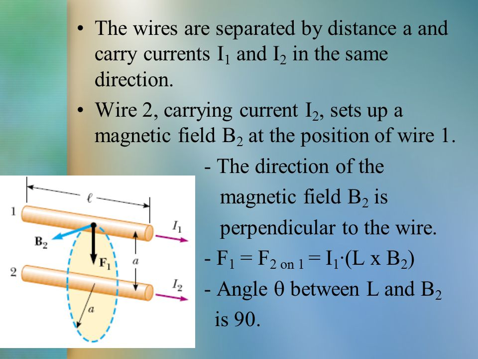 F 1 = F 2 on 1 = I 1 ·(L x B 2 ) = I 1 ·L·B 2 ·sin  F 1 = F 2 on 1 = I 1 ·L·B 2 Biot-Savart law for the magnetic field B2: Substituting: