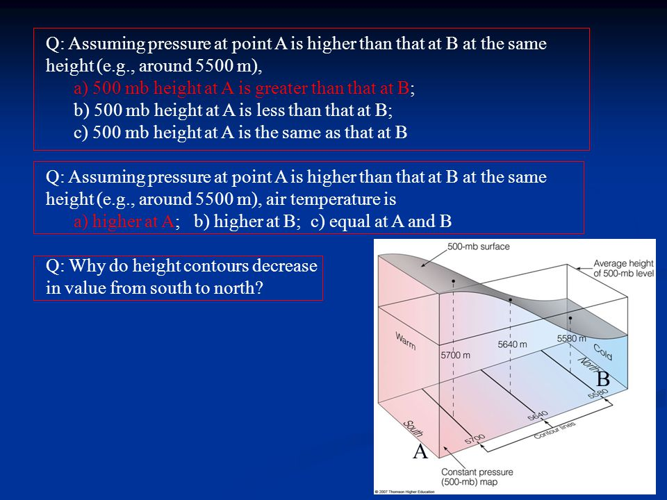 Q: Assuming pressure at point A is higher than that at B at the same height (e.g., around 5500 m), a) 500 mb height at A is greater than that at B; b)