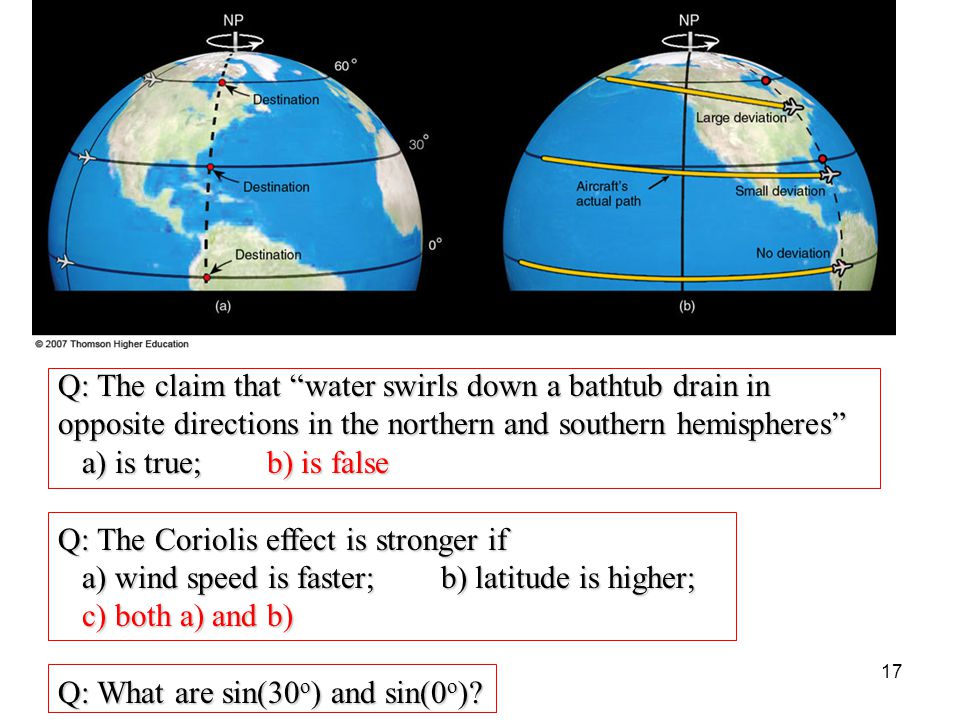 "Q: The claim that ""water swirls down a bathtub drain in opposite directions in the northern and southern hemispheres"" a) is true; b) is false a) is tr"