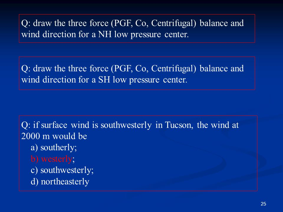 Q: draw the three force (PGF, Co, Centrifugal) balance and wind direction for a NH low pressure center. Q: draw the three force (PGF, Co, Centrifugal)