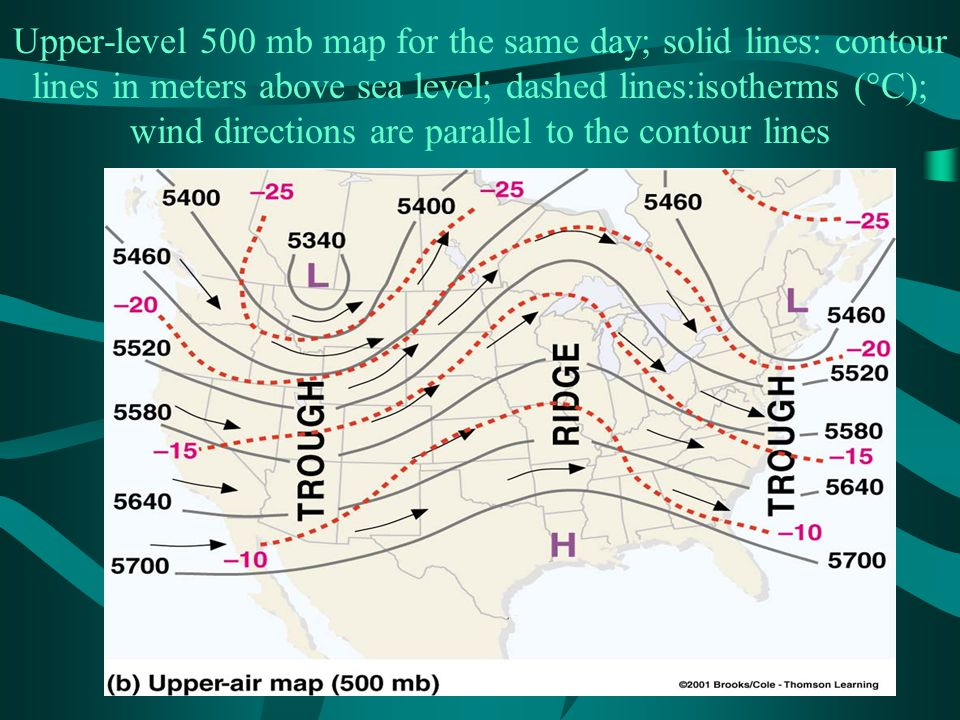 Upper-level 500 mb map for the same day; solid lines: contour lines in meters above sea level; dashed lines:isotherms (°C); wind directions are parallel to the contour lines