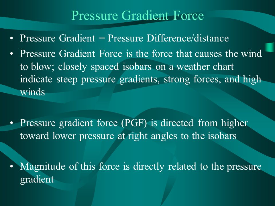 Pressure Gradient Force Pressure Gradient = Pressure Difference/distance Pressure Gradient Force is the force that causes the wind to blow; closely spaced isobars on a weather chart indicate steep pressure gradients, strong forces, and high winds Pressure gradient force (PGF) is directed from higher toward lower pressure at right angles to the isobars Magnitude of this force is directly related to the pressure gradient