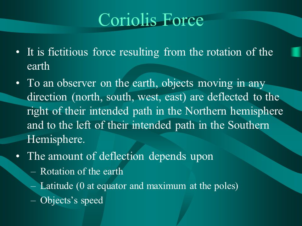 Coriolis Force It is fictitious force resulting from the rotation of the earth To an observer on the earth, objects moving in any direction (north, south, west, east) are deflected to the right of their intended path in the Northern hemisphere and to the left of their intended path in the Southern Hemisphere.