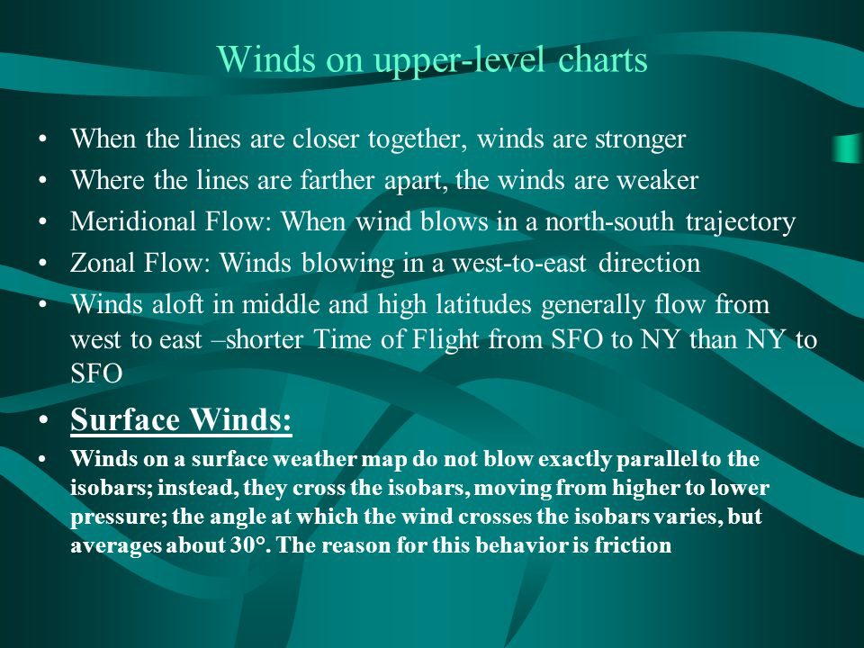 Winds on upper-level charts When the lines are closer together, winds are stronger Where the lines are farther apart, the winds are weaker Meridional